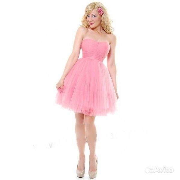 Розовое платье короткое пышное