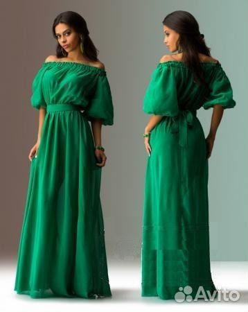 Фото платьев в пол с рукавами зелёное