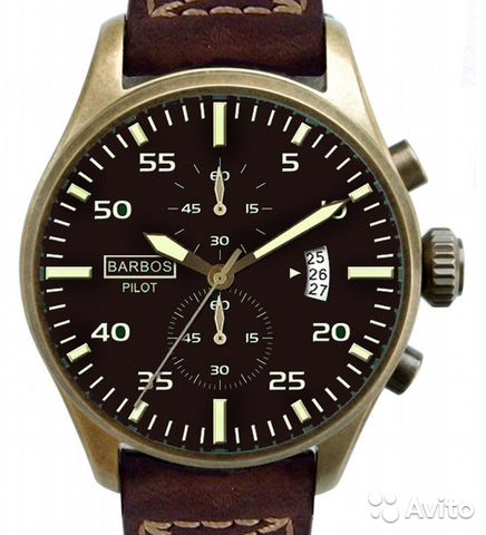 Пилотные часы Barbos Pilot Chronograph Brown— фотография №1