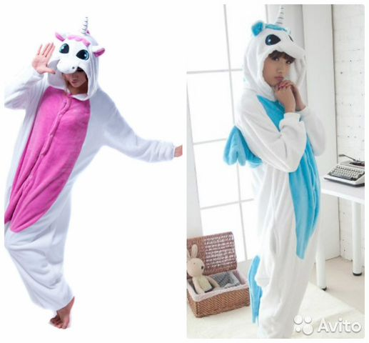 Кигуруми Розовый и голубой Единорог пижама  2f948d3ef8358