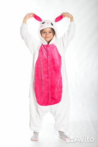 Детская пижама-кигуруми Розовый Зайка  18b9170df52e5
