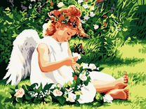 """Картина раскраска """"Ангел с бабочкой"""" 40*50см"""
