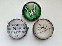 Значки Гарри Поттер и Локи
