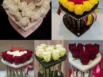Розы в пробирках. Цветы в боксах